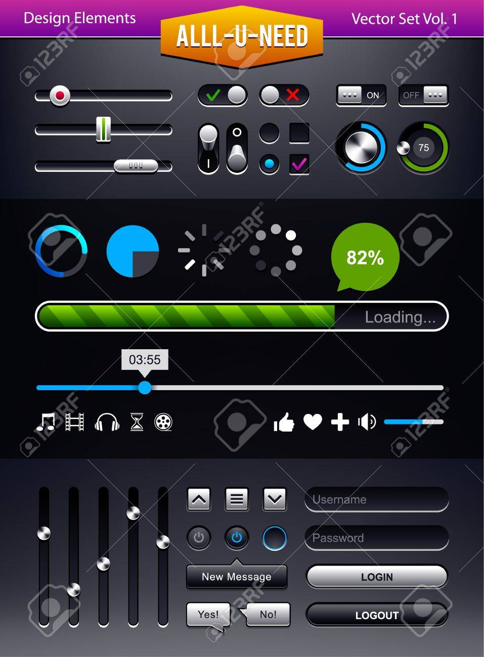 Vector set of user interface elements  Status bars and switchers UI kit Stock Vector - 18630115