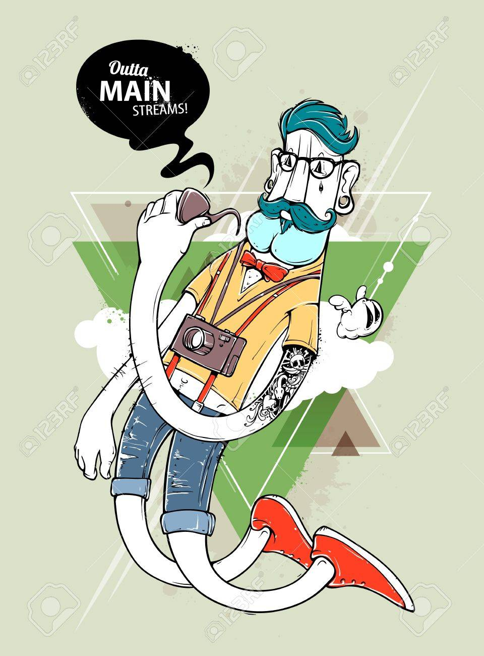 graffiti character Hipster graffiti character on abstract triangle  background. Hand,drawn hipster tattooed