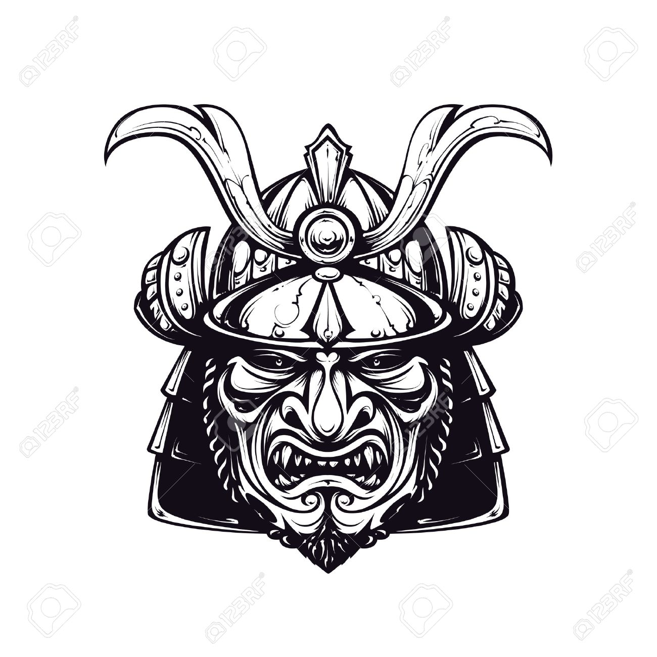 Samurai Mask Clip Art Black And White Version Isolated On White Royalty Free Cliparts Vectors And Stock Illustration Image 24595249