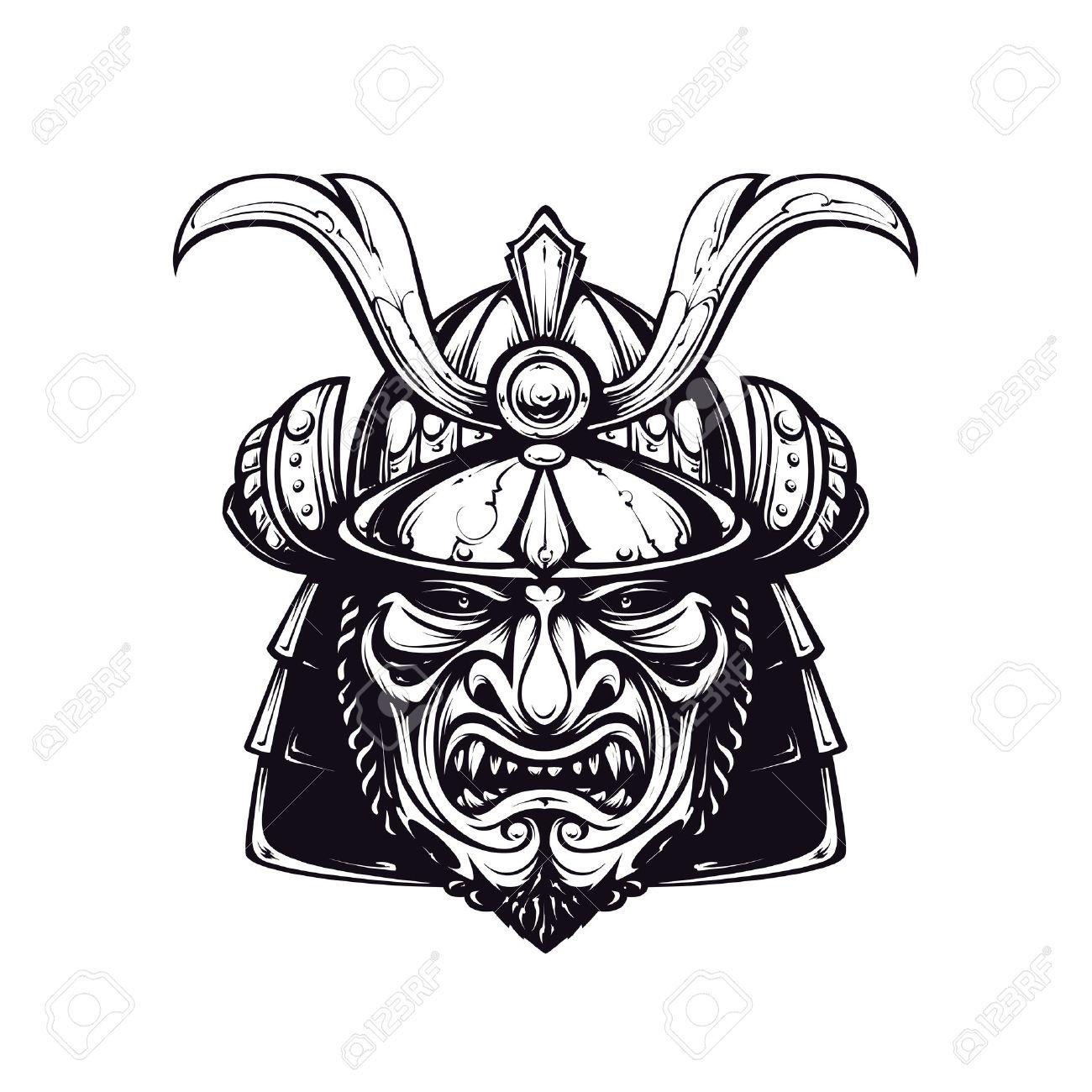 Samurai Maske Clip Art Schwarz Weiß Version Isoliert Auf Weiß
