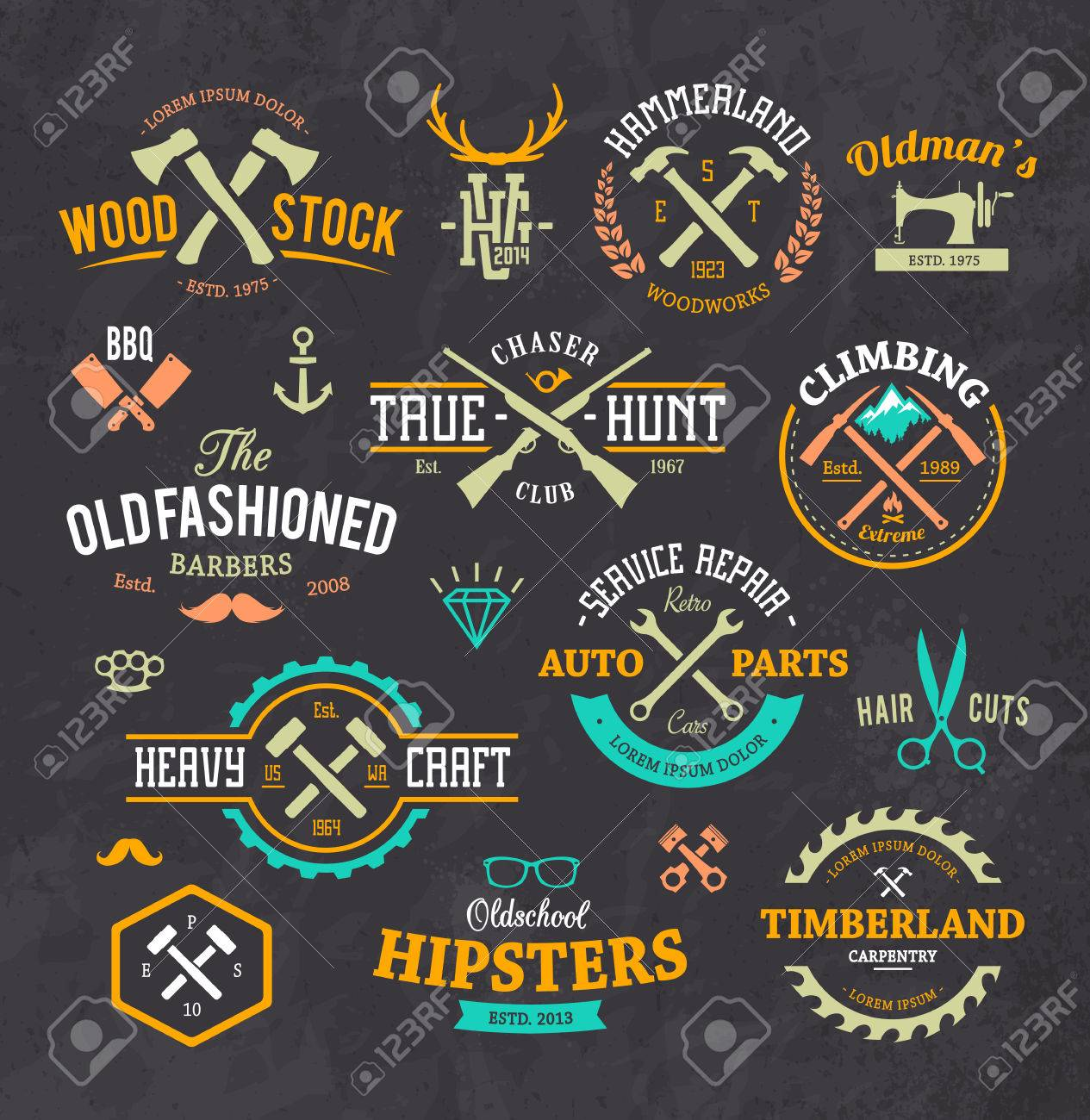Vector set of stylish retro emblems symbols and design elements vector set of stylish retro emblems symbols and design elements stock vector 30683689 buycottarizona Gallery