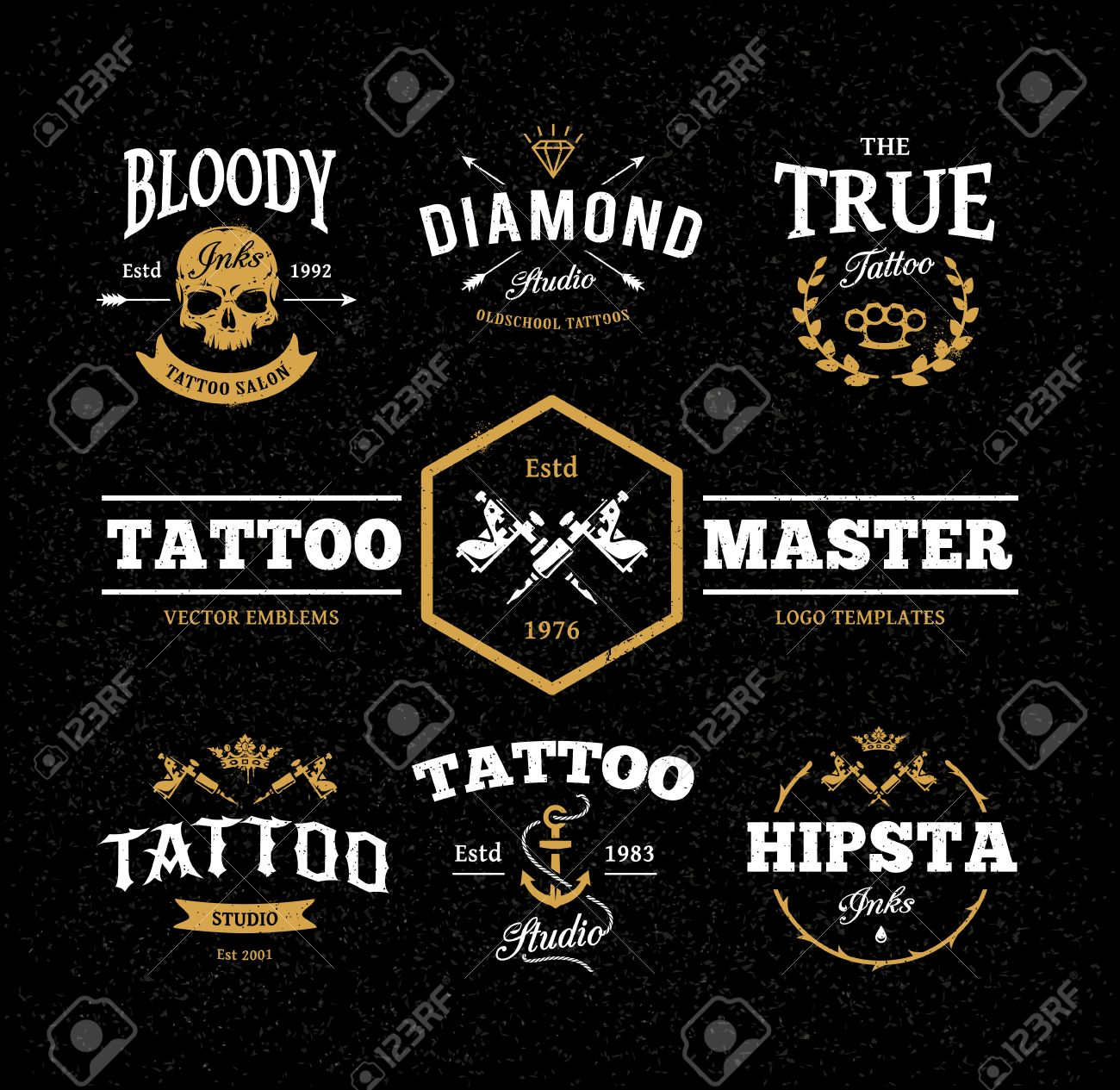 Vector Set Of Cool Tattoo Studio Logo Templates On Dark Background ...