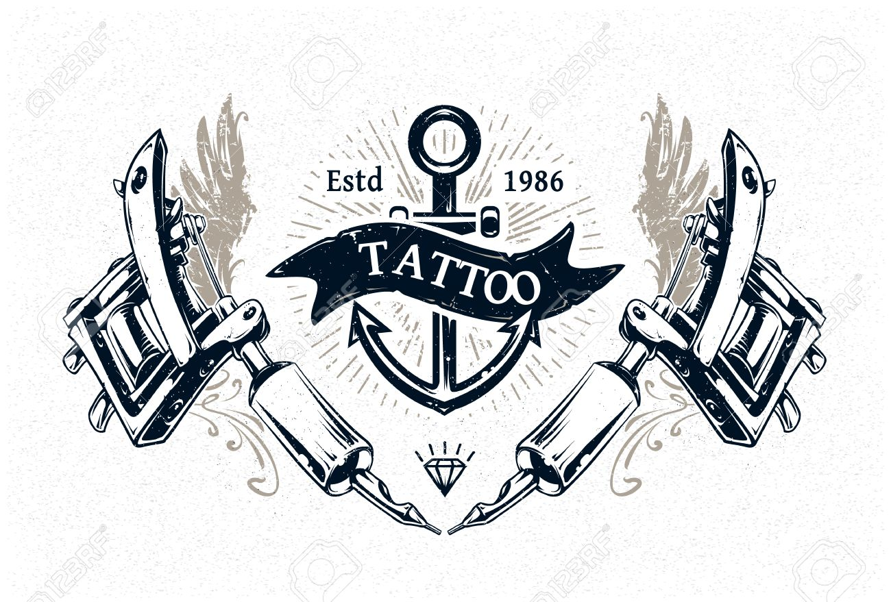 Cool Authentic Tattoo Studio Poster Template With Machines And Classic Typography Vector Illustration