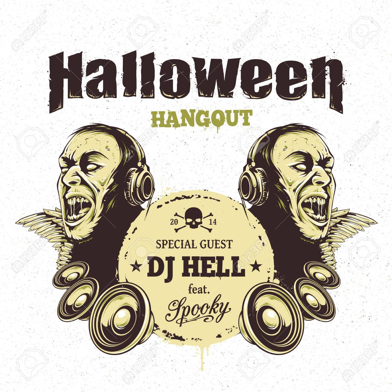 Halloween Party Flyer Template. Zombie With Headphones And Speakers ...