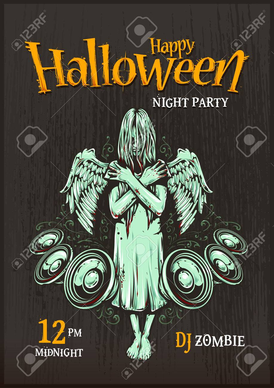 Halloween Party Poster Template. Zombie Girl With Speakers ...