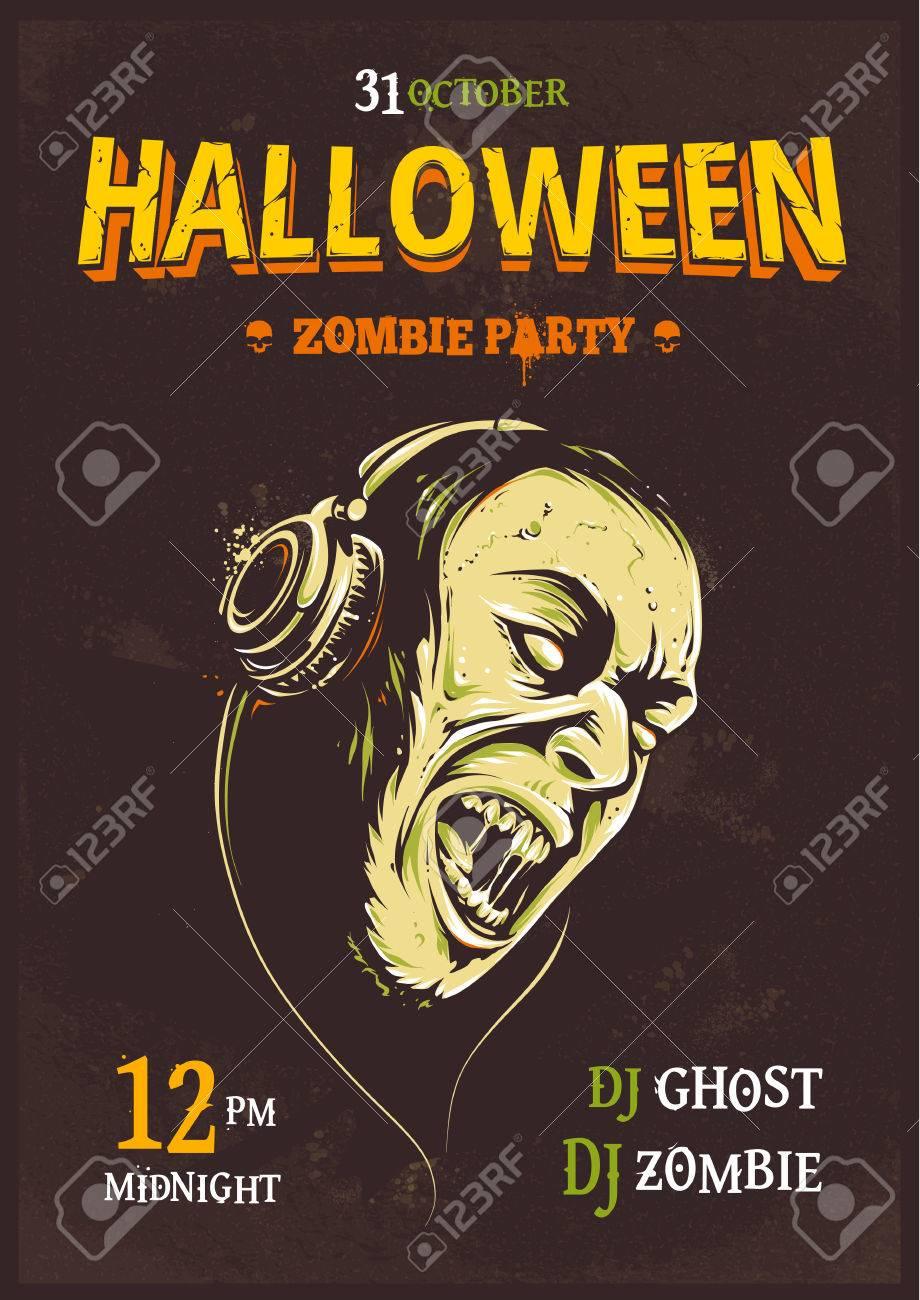Halloween Party Poster Template. Zombie With Headphones. Halloween ...