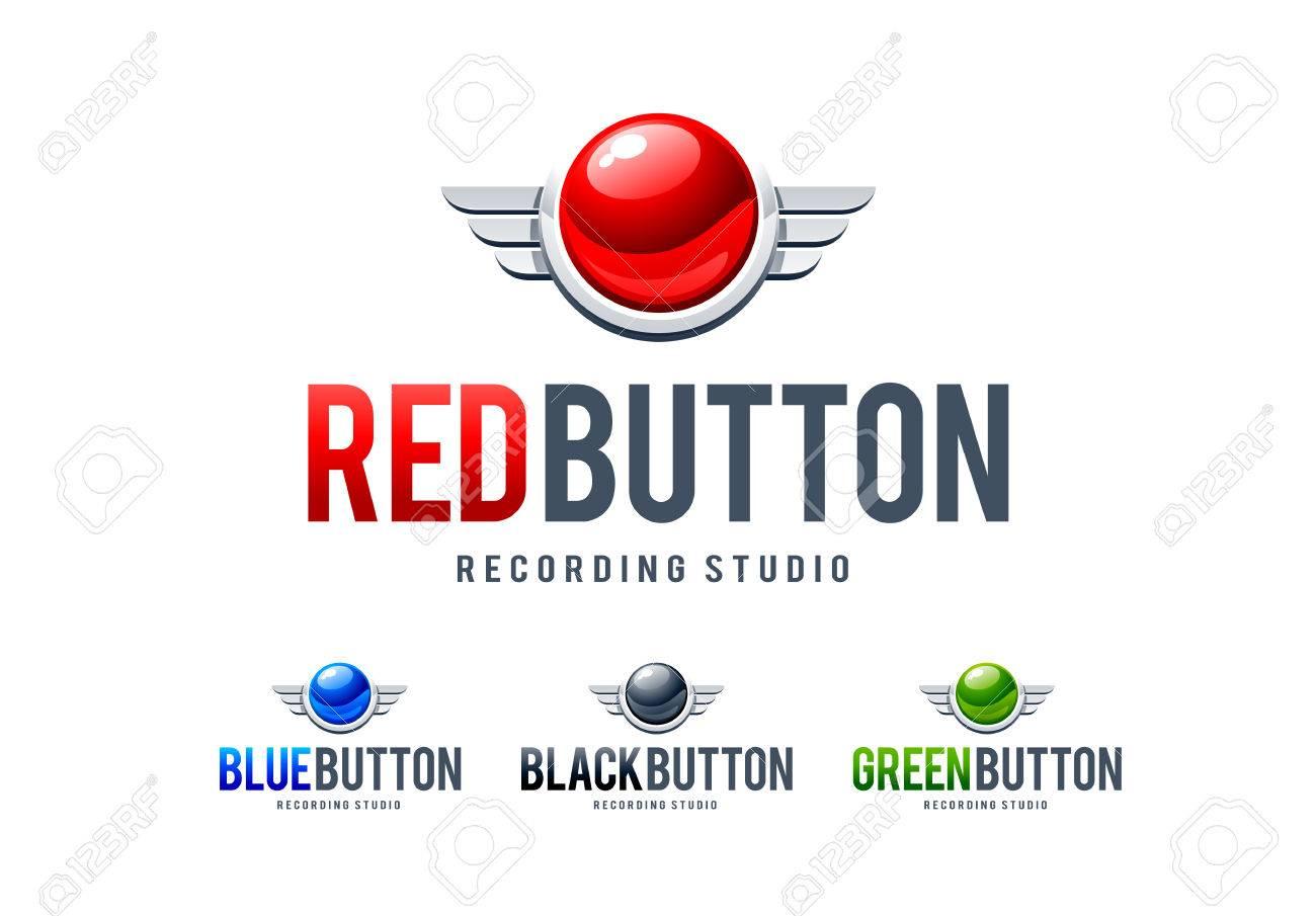 Rot Glänzend Button Mit Metallflügeln. Logo-Design-Vorlage. Vector ...