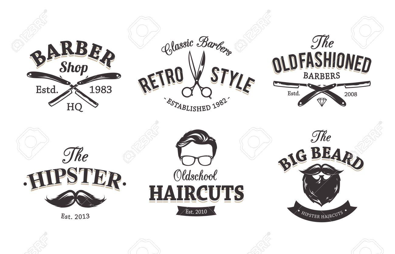 Clip art vector of vintage barber shop logo graphics and icon vector - Vector Set Of Vintage Barber Shop Emblems Barber Shop Icon Templates Stock Vector