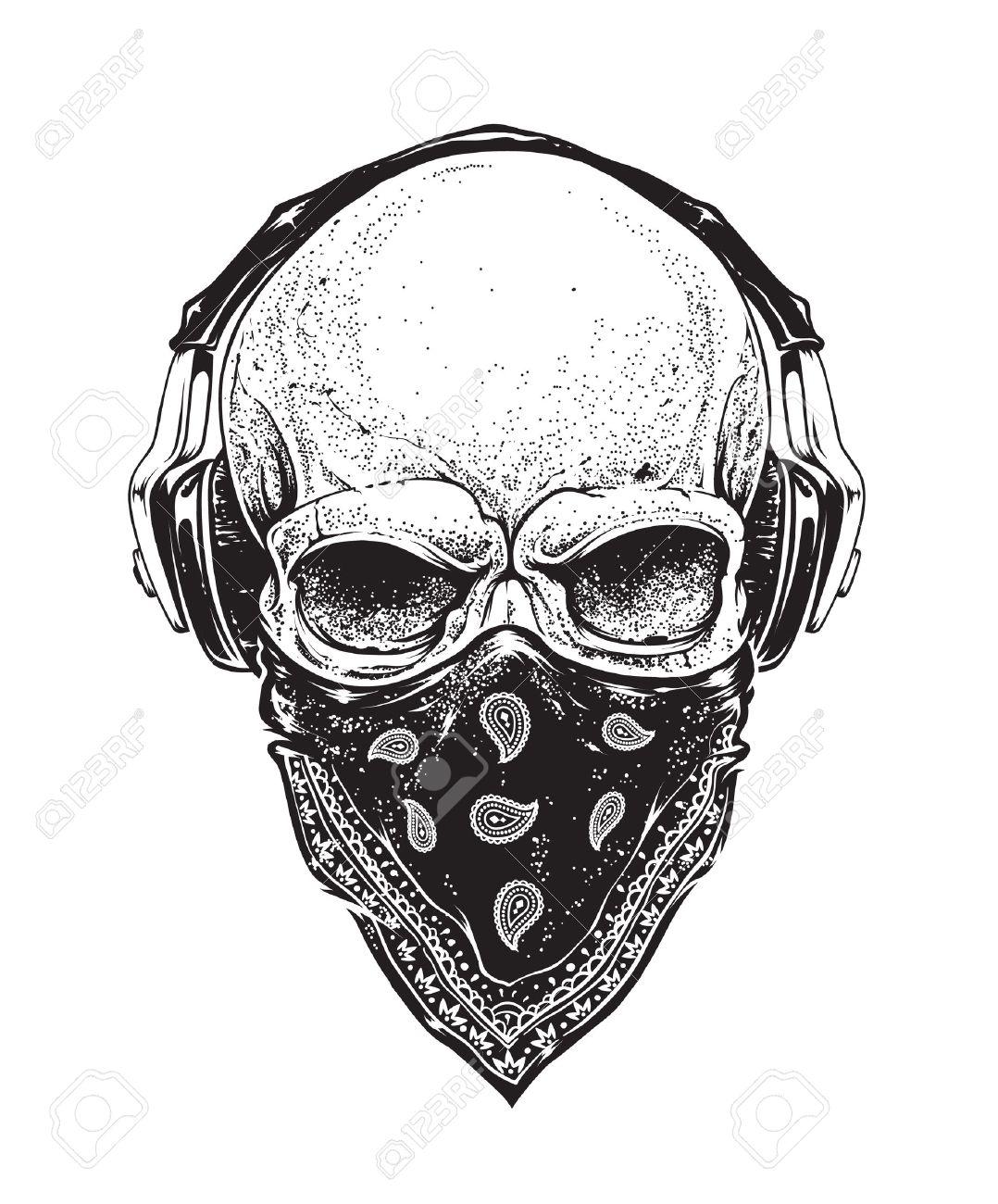 e7f526abdd0 Dotwork styled skull with headphones and bandana. Vector art. Stock Vector  - 39431914