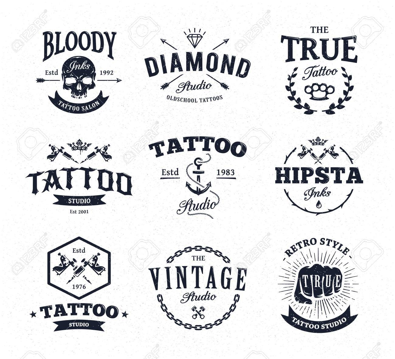 Vector Set Of Cool Tattoo Studio Icon Templates On White ...