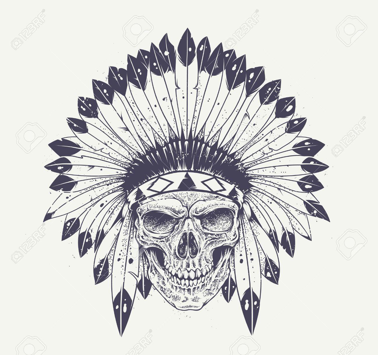 Cráneo del estilo de Dotwork con sombrero de plumas indio. Arte vectorial  Grunge. Foto 86b2680e54c