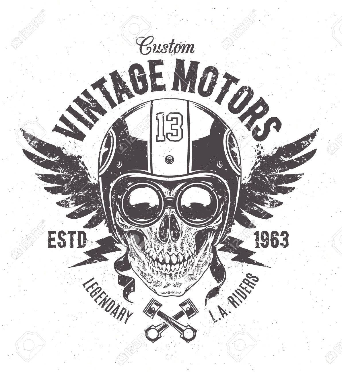 Rider skull with retro racer attributes. Grunge print. Vintage style. Vector art. - 40826456