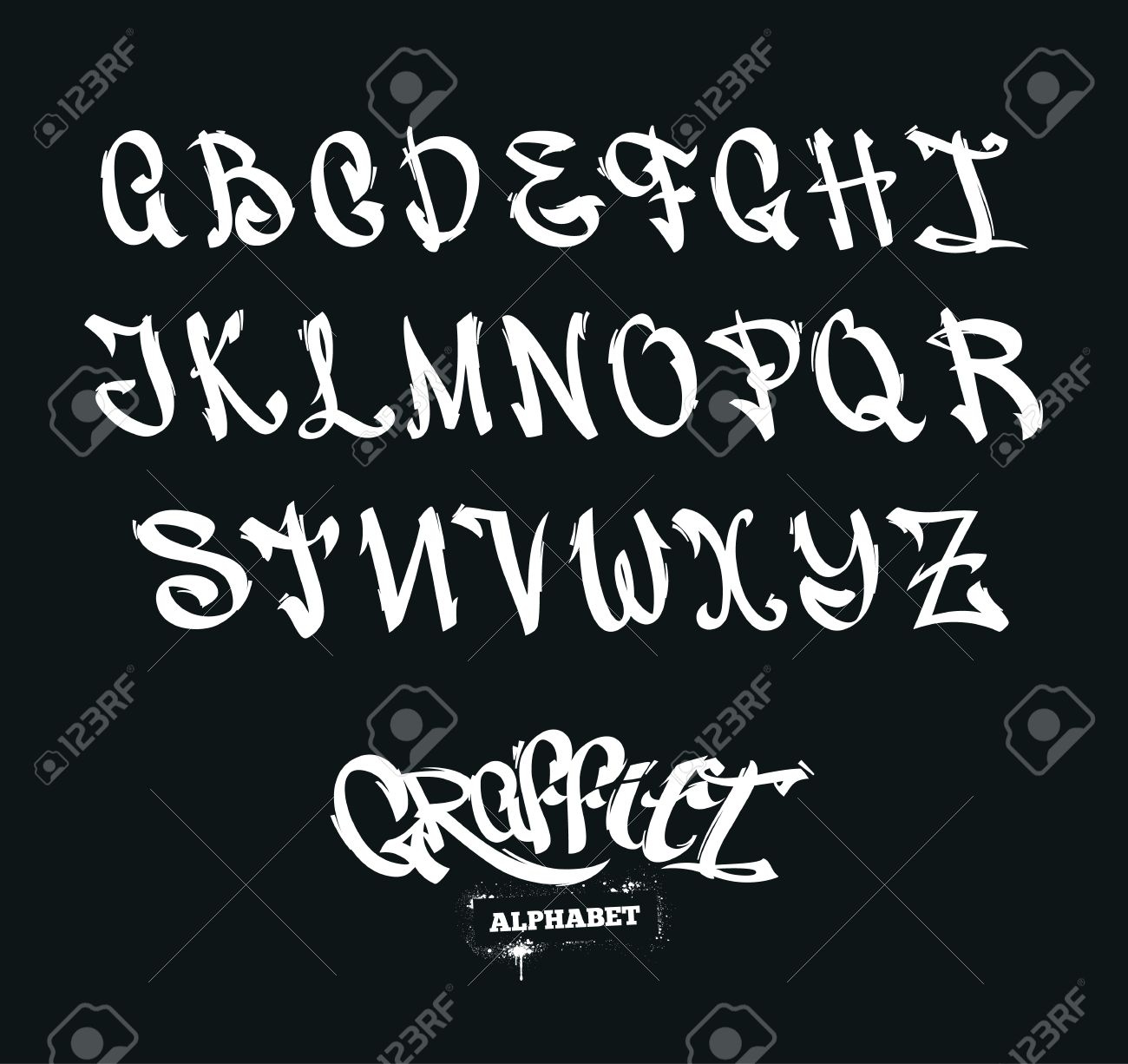 Set Of Graffiti Style Letters Street Art Alphabet Vector Symbols