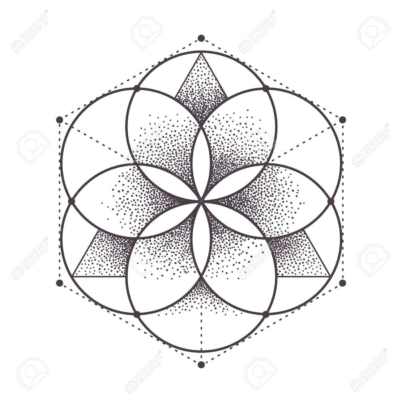 Abstract sacred geometry. Geometric symmetric pattern isolated on white. Dotwork style vector illustration. - 54024102