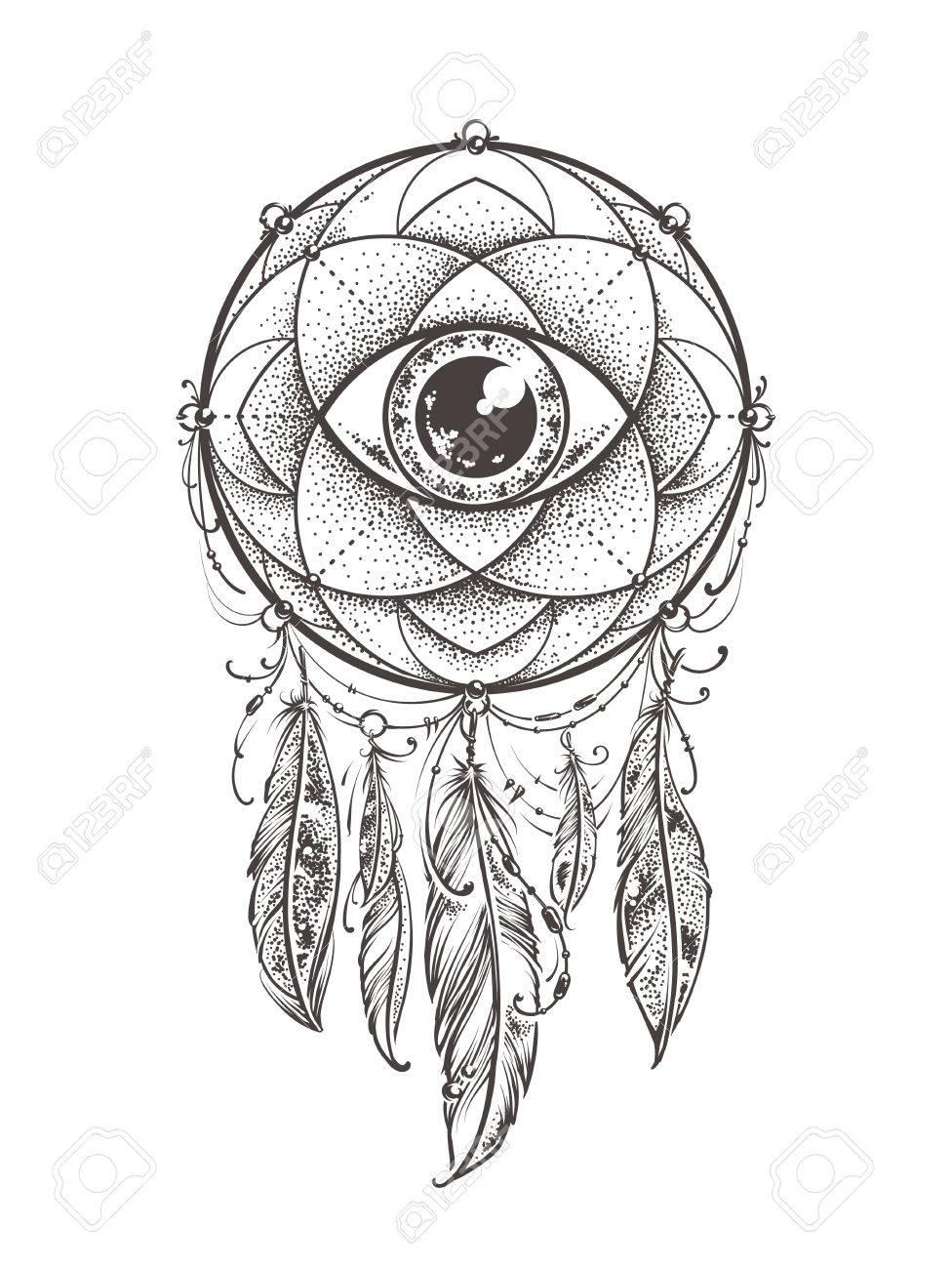 Abstract Art Of Original Dream Catcher Symbol Geometric Pattern