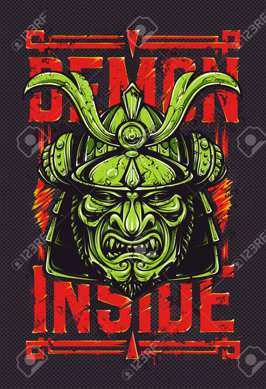 Demon Inside Grunge Vector Art Of Samurai Mask And Typography Royalty Free Cliparts Vectors And Stock Illustration Image 56096509