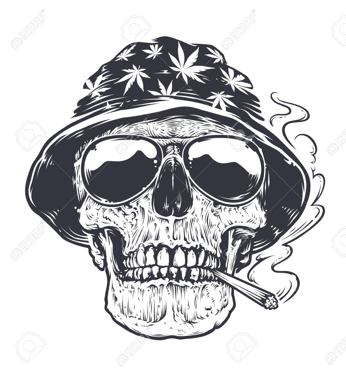 Foto de archivo - Rastaman Cráneo arte vectorial. Cráneo en sombrero con  hojas de cannabis y en anteojos sostiene fumar en la boca. Ilustración en  blanco y ... dce82976ea7