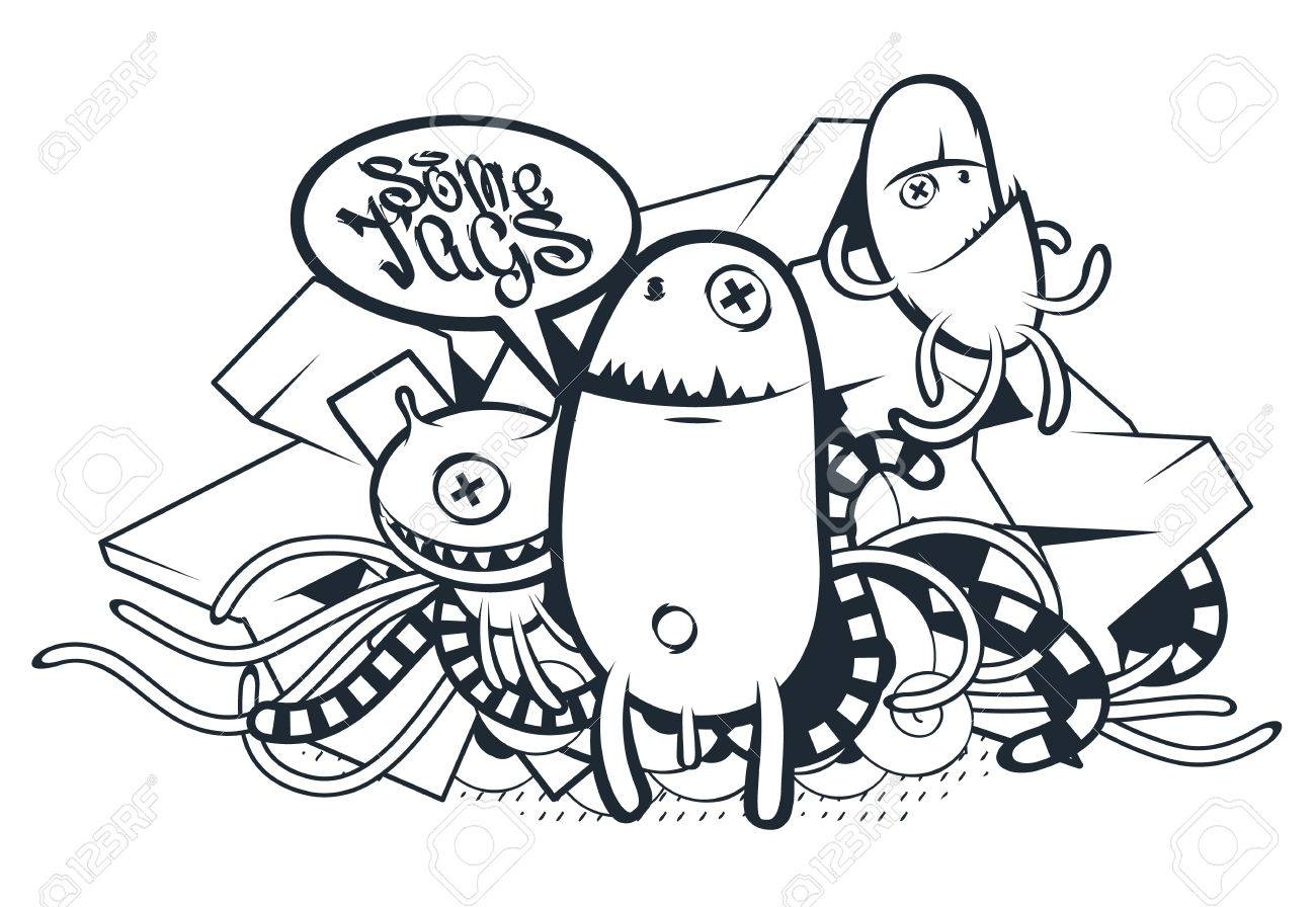 Graffiti Doodle Art Vector Doodle Characters With Speech Bubble