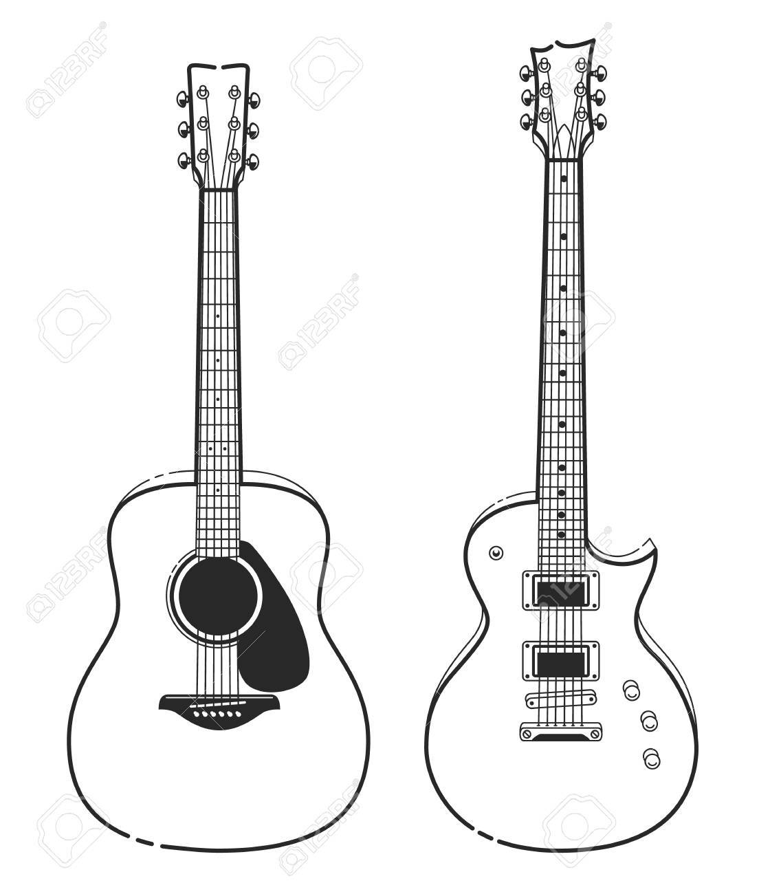 Electric And Acoustic Guitars Outline Style Guitars Vector Art