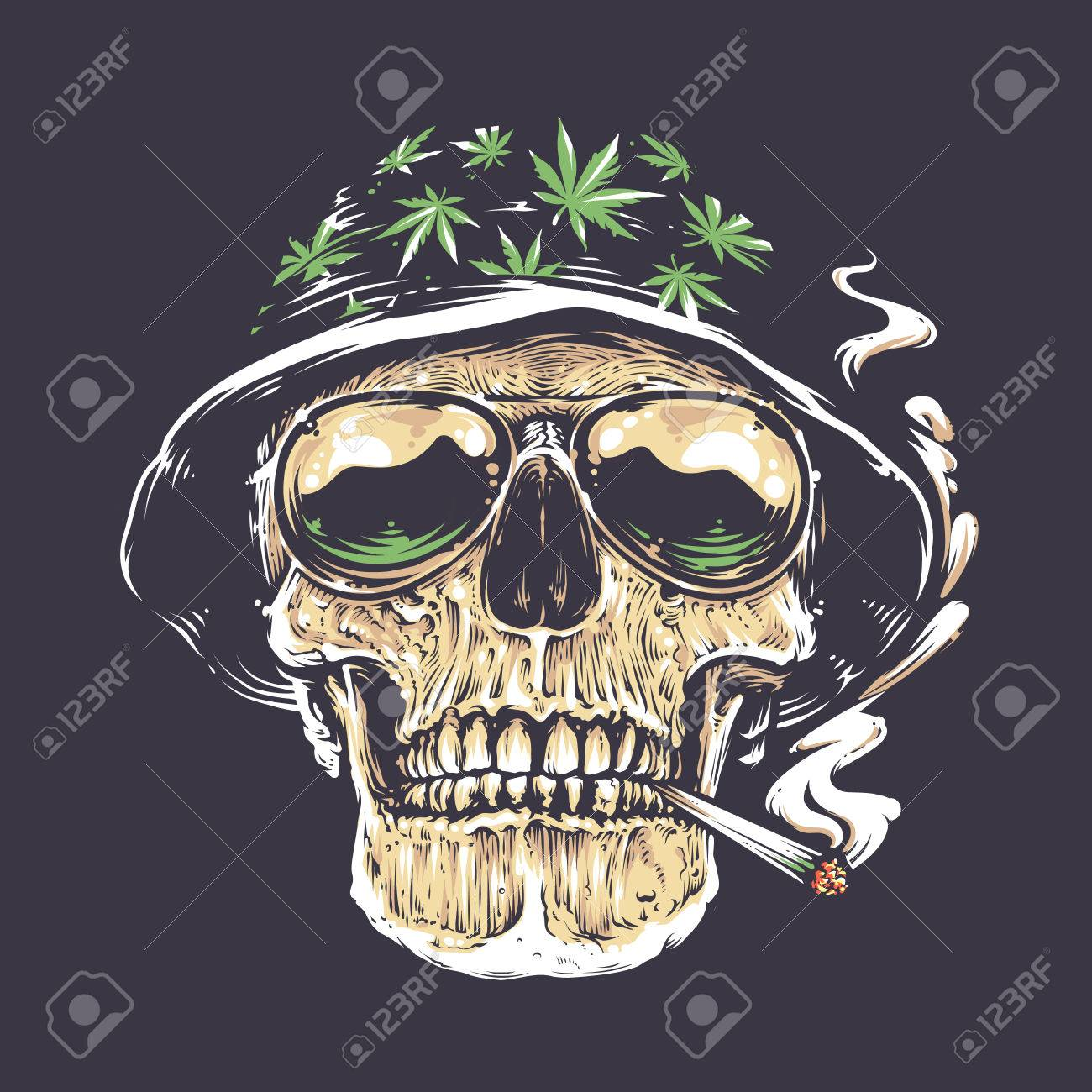 Rastaman Skull vector art. Skull in hat with cannabis leafs and in suglasses holds smoking joint in his mouth. Vector art. - 75684672