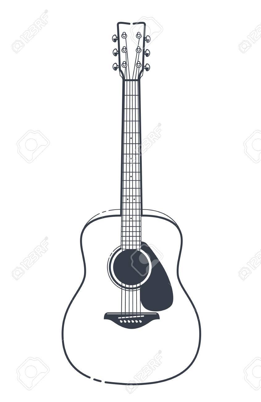 Acoustic Guitar Vector Outline Style Guitar Art Royalty Free