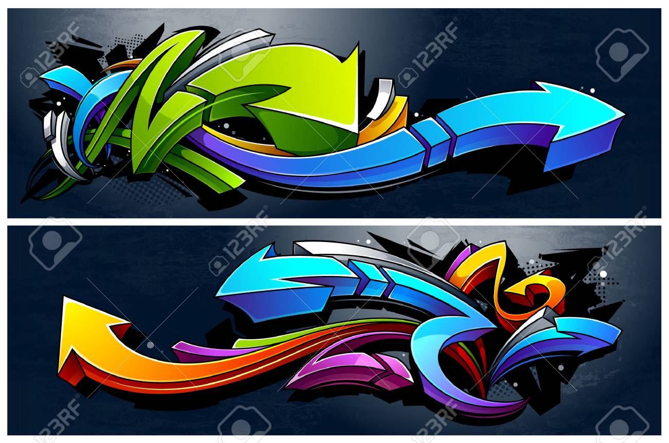 Two horizontal banners with abstract graffiti arrows. Vibrant colors 3D graffiti arrows on dark grunge background. - 78692079
