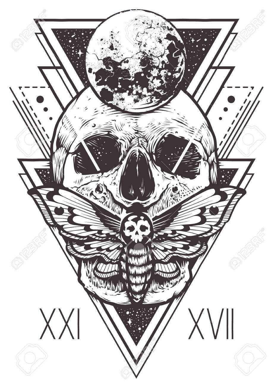 Vector boho design of skull with hawk moth and sacred geometric elements, hipster triangles, mystical symbols. - 81840982