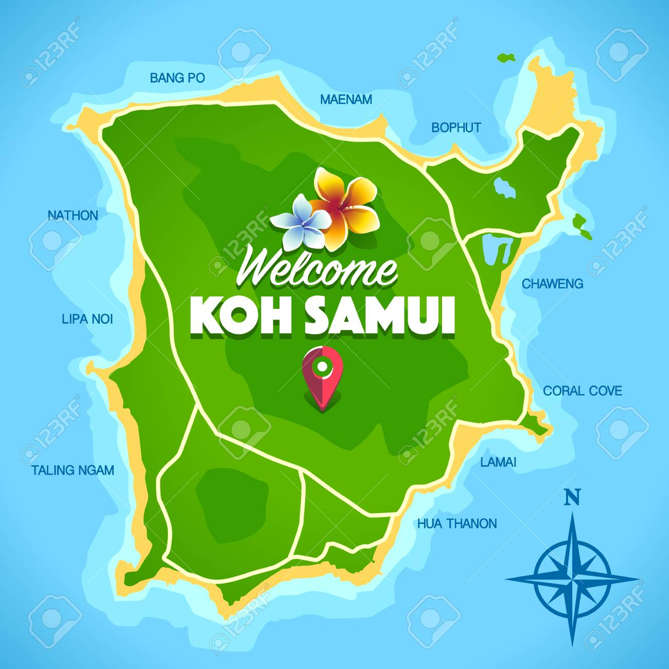 Koh Samui Thailand Island Artistic Map With Typography Welcome