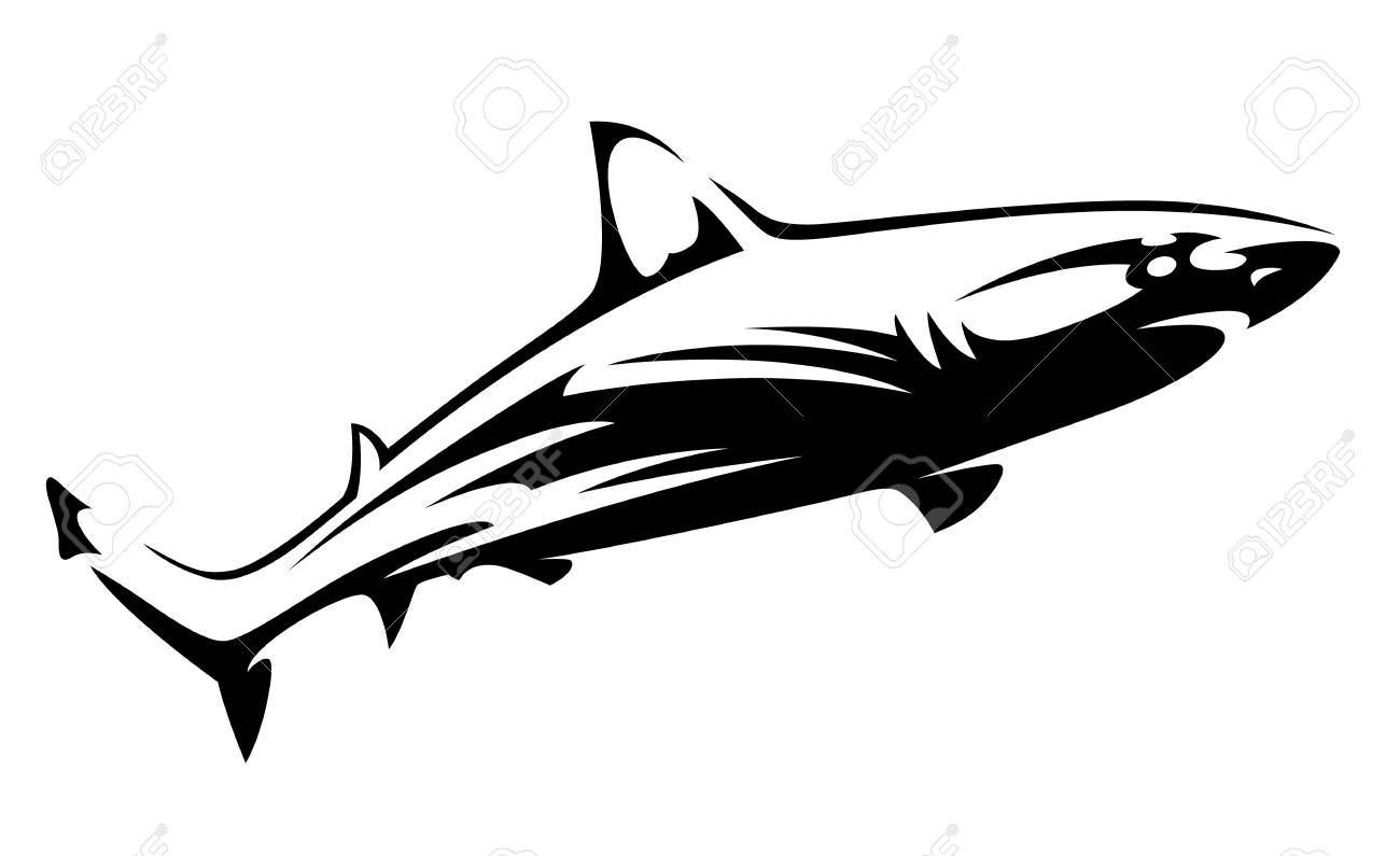 Black Vector Shape Of Shark Isolated On White Shark Tattoo
