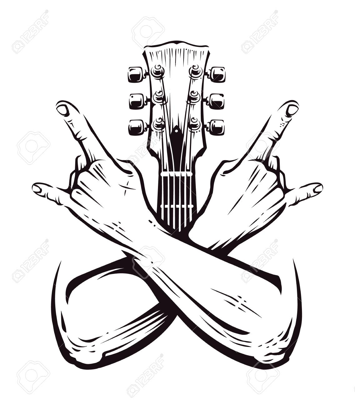 Crossed hands sign rock n roll gesture isolated with guitar neck on white. Punk rock hands sign. Vector illustration. - 102010276