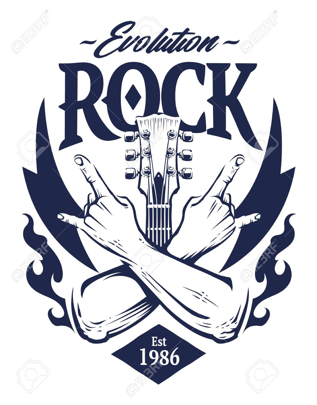 Vector emblem with crossed hands sign rock n roll gesture, guitar neck and flames. Monochrome rock emblem template. - 102550118