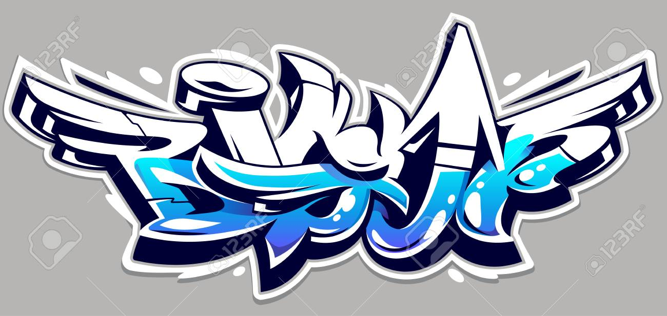 Big Up blue color vector lettering on grey background. Dynamic wild style graffiti art. Three dimensional letters abstract illustration. - 103039388