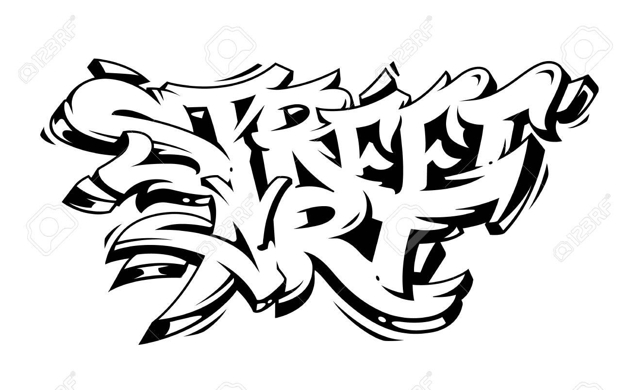 Street art graffiti vector lettering isolated on white wild style graffiti monochrome vector art