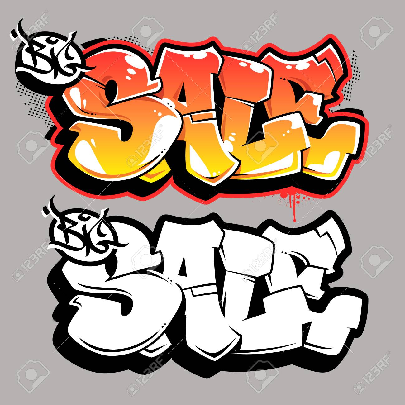 Big Sale Bubble Style Old School Graffiti Lettering On Grey Background