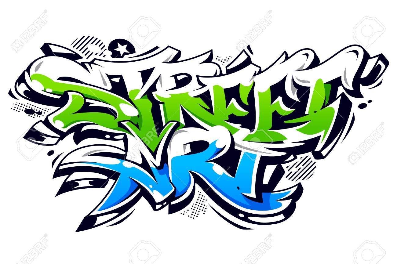 Vibrant Color Street Art Graffiti Lettering Isolated On White