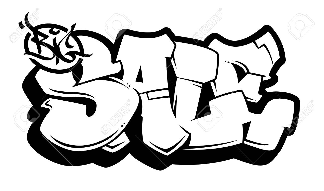 Big Sale Bubble Style Old School Graffiti Lettering On White