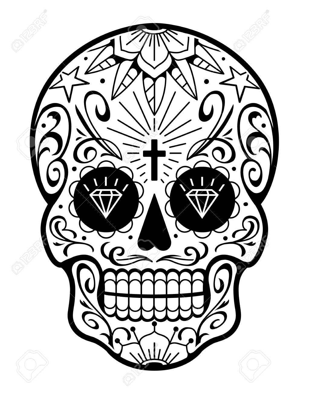 Vector Mexican Skull With Patterns Old School Tattoo Style Sugar Royalty Free Cliparts Vectors And Stock Illustration Image 110078964