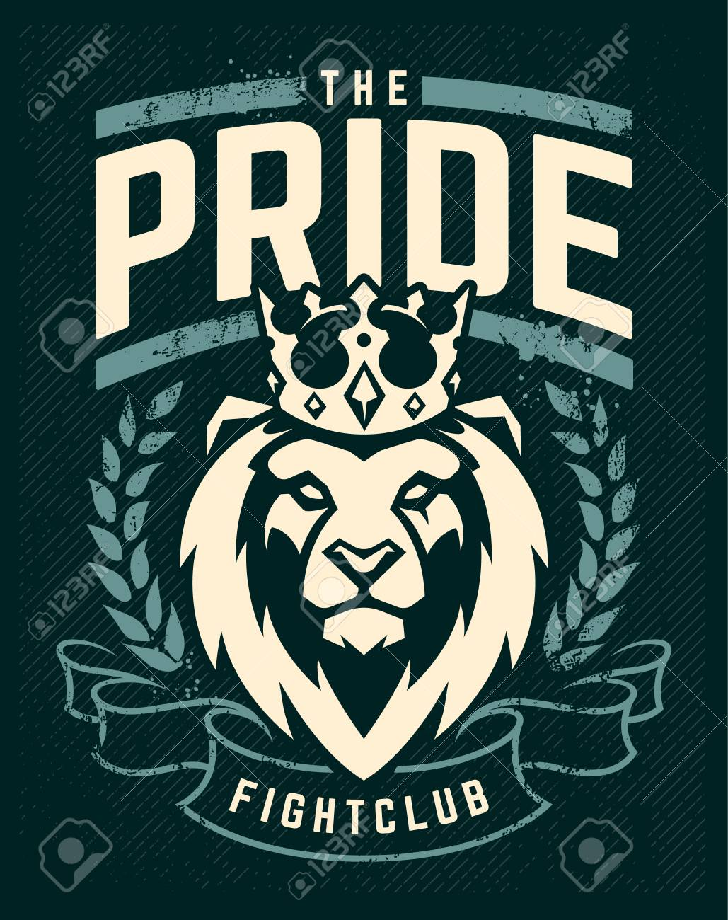 Emblem design template with lion in crown looking danger. Grunge art with wreath and ribbon elements. Classic style. Vector print. - 112955863