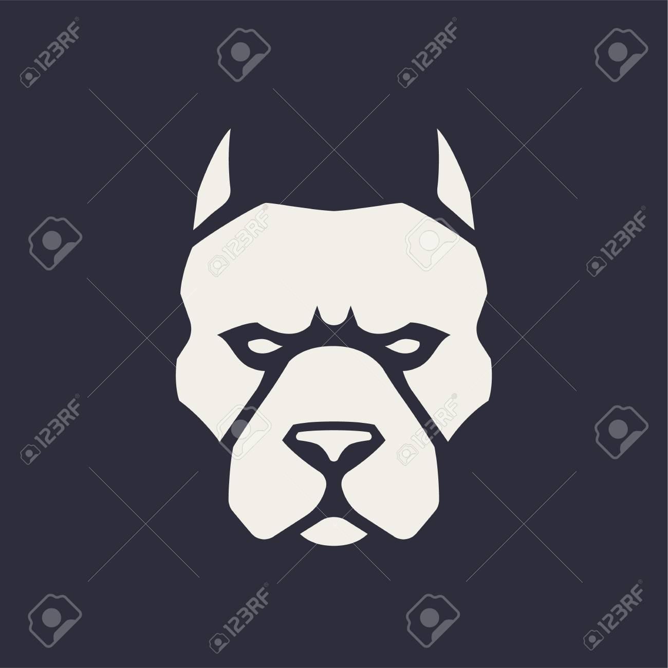 Pitbull mascot vector art  Frontal symmetric image of pitbull