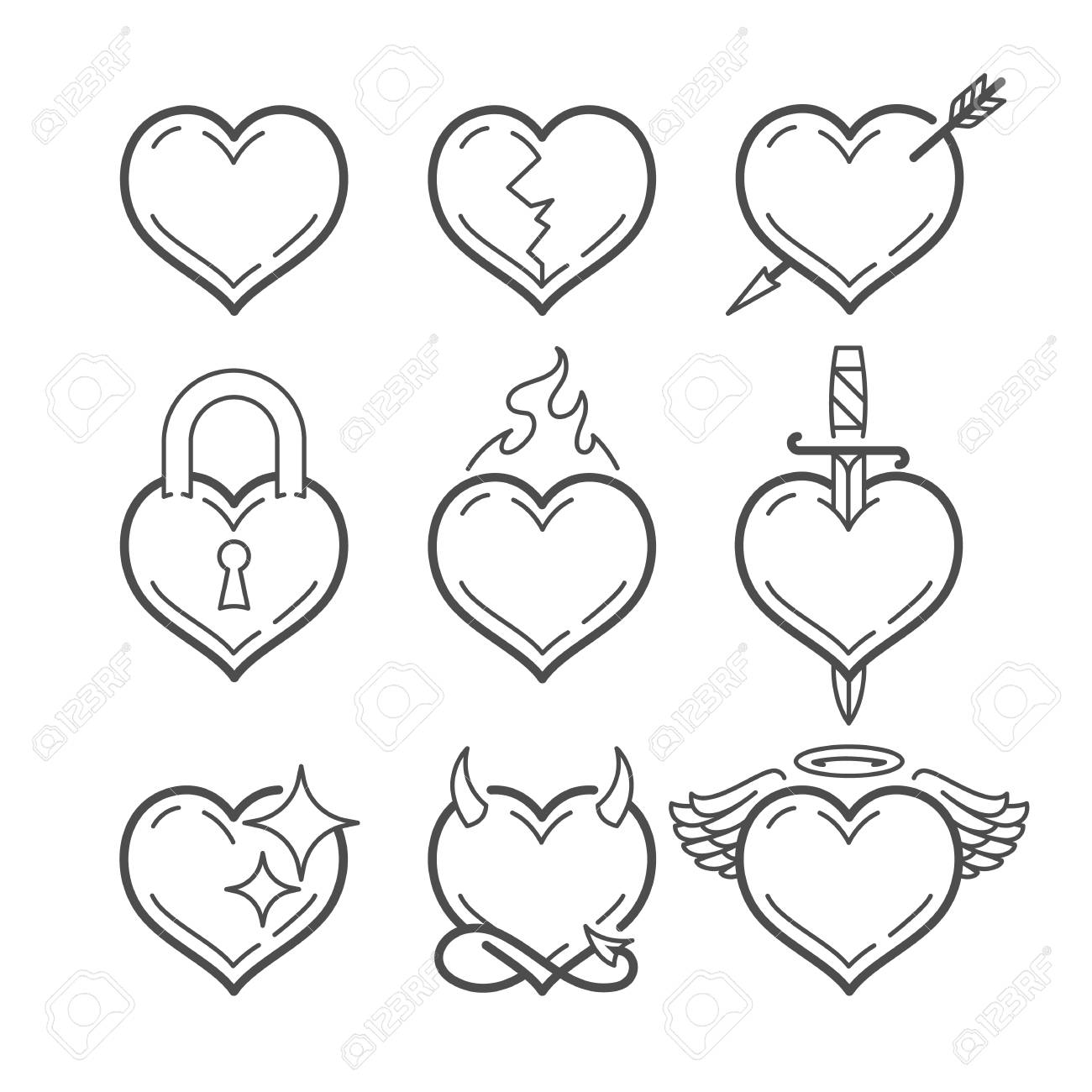 Set of line art vector hearts with different elements isolated on white. Heart shape line art icons. - 121706246