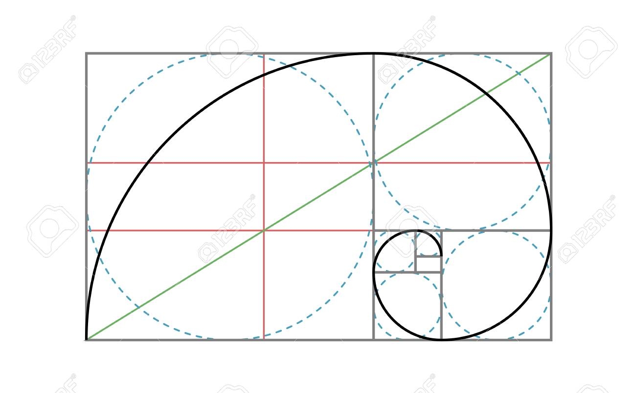picture relating to Golden Rule Printable identified as Golden Ratio Vector Style Template. Fibonacci golden ratio construction..