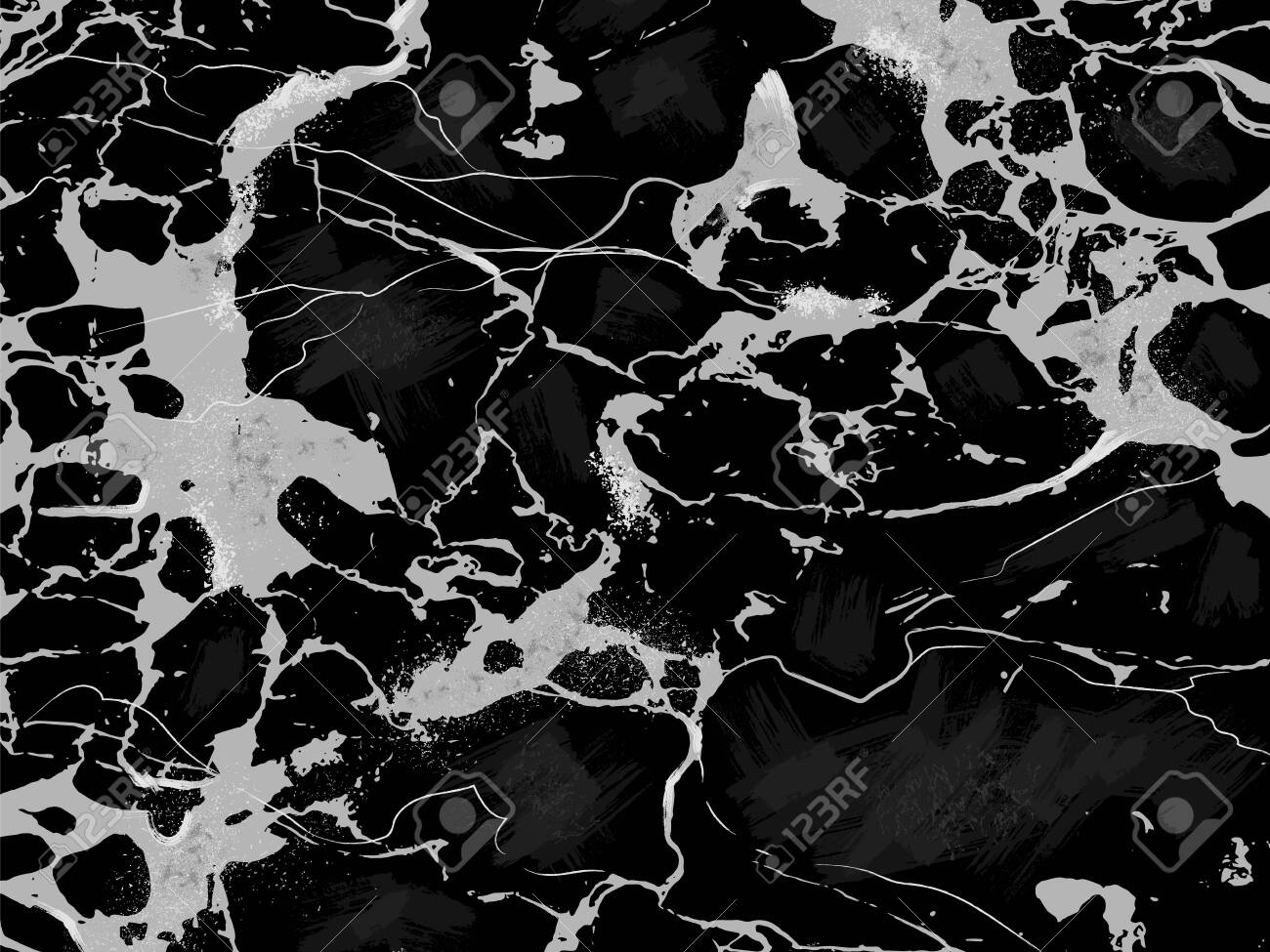 Black Marble Texture Horizontal Vector Background. - 123636504
