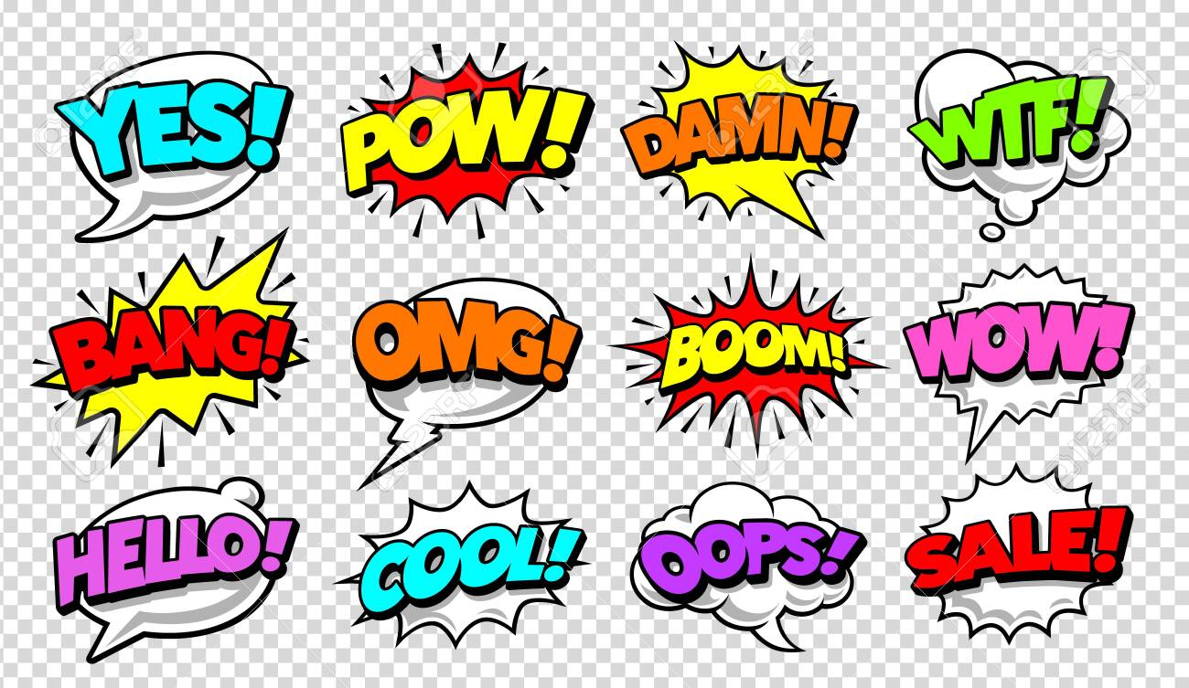 Retro comic speech bubbles with different tags on transparency background. Vector illustration. - 123274254