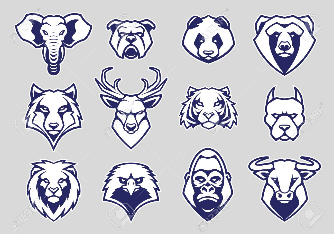 Animals Head Mascot Icons Vector Set. Different animals muzzles looking straight with aggressive mood. Vector icons set. - 121656374