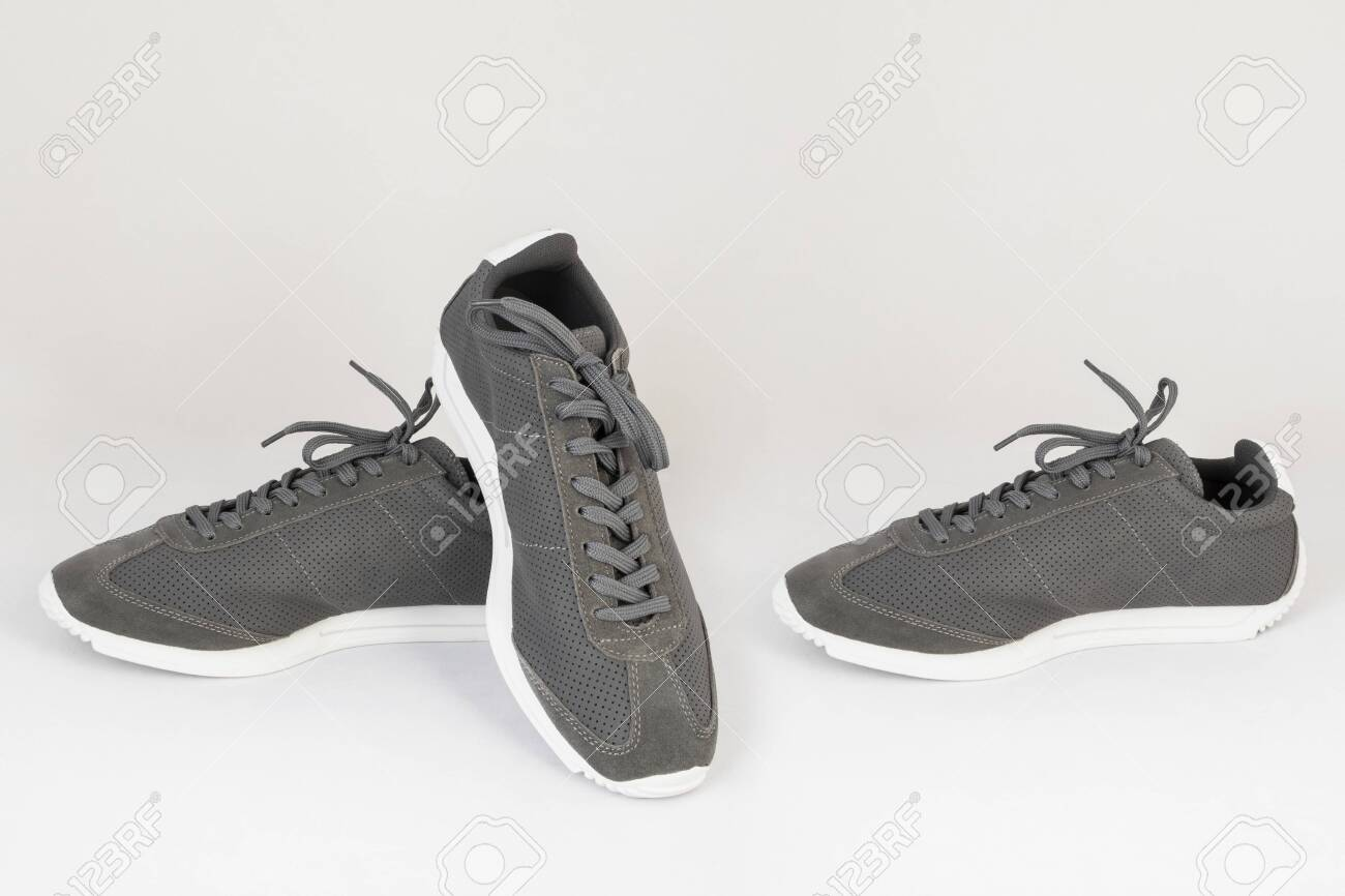 gray sneakers shoes isolated on white background side and front view - 135582791