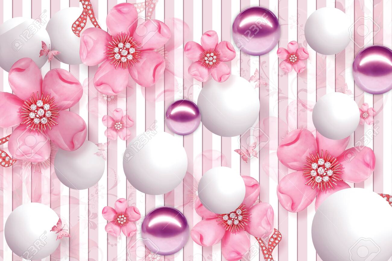 3D Wallpaper Design with Floral and Geometric Objects gold ball and pearls, gold jewelry wallpaper purple flower - 126968647