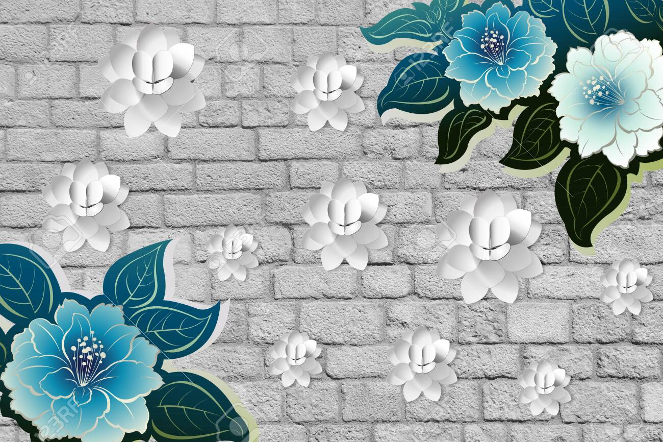 3d Flower Wallpaper With Wall Of Bricks Wood Stone And Leaf