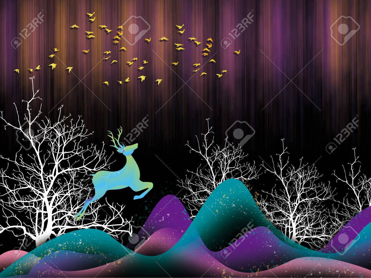 3d Modern Art Mural Wallpaper With Dark Blue Jungle Forest Stock Photo Picture And Royalty Free Image Image 148360808