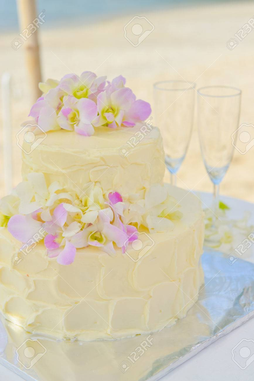 Beautiful Wedding Cake With Orchid, Beach Wedding Stock Photo ...
