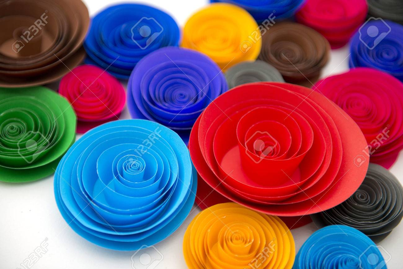 Beautiful Handicraft Paper With Beautiful Colorful Flower Is Diy From Paper, Handicraft Stock